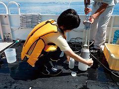 Water sampling on Shin-Hyogo, which is a survey ship of Hyogo Prefecture, in the Sea of Harima